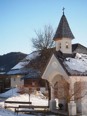 A farming family's personal chapel. We found this on our Christmas sleigh ride near Salzburg