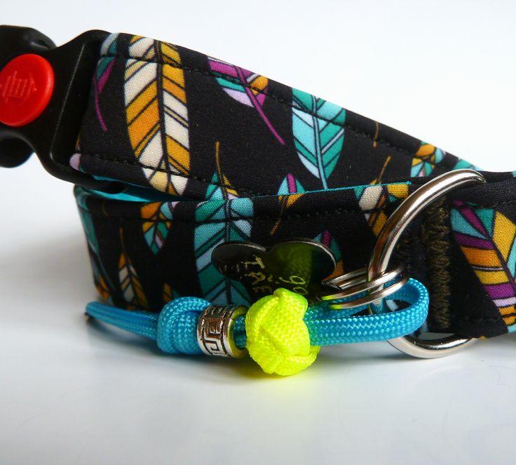 DIY sewed printed softshell dog collar - feathers