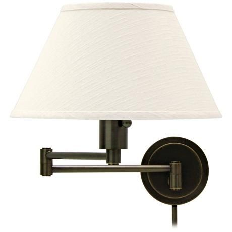 rubbed bronze with ivory shade plug in swing arm wall lamp style 65500. Black Bedroom Furniture Sets. Home Design Ideas