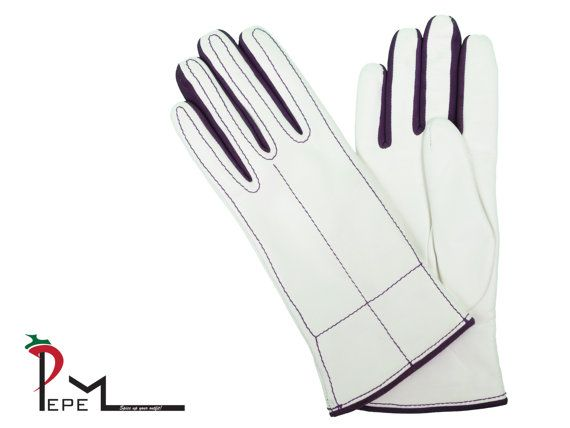 Soft white lambskin leather women gloves with cashmere by PEPEMODA