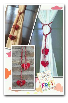 Sujeta cortinas con corazón amigurumi para decorar el hogar...