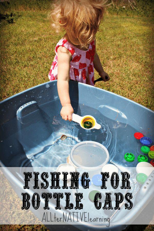 Using Old Bottle Caps Preschool Summer Science Fishing