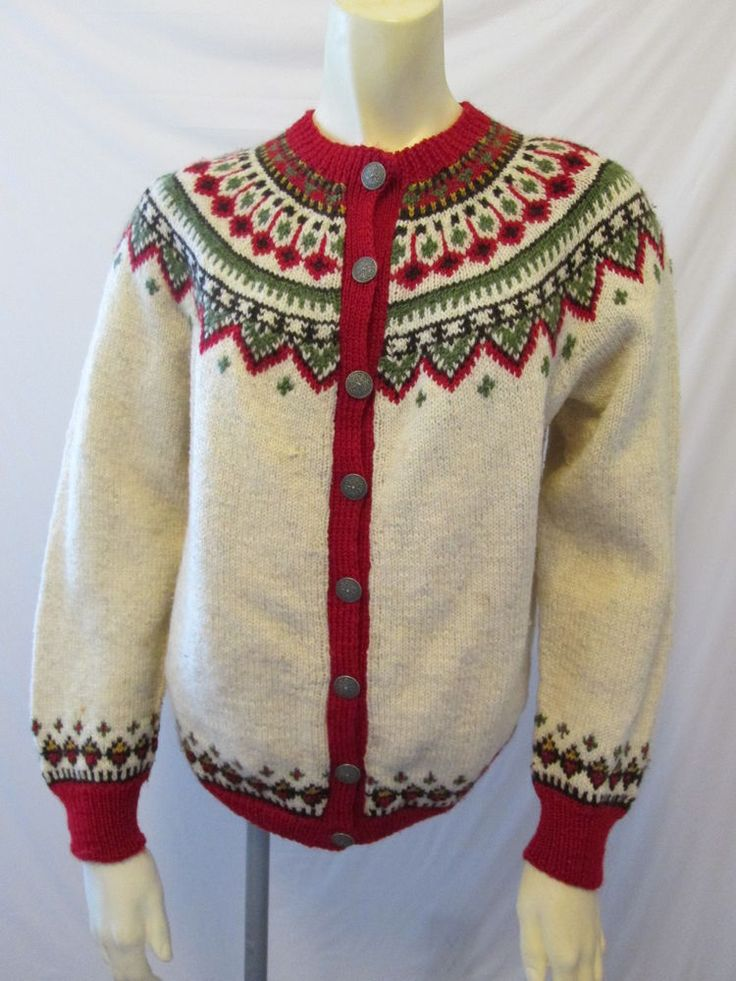 Bergenskofter Norwegian Fair Isle Vtg Ski Hand Knit 100% Wool Cardigan Sweater L #Bergenskofter #Cardigan