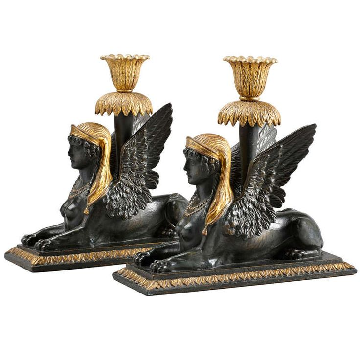 Pair of Early 19th Century, Viennese Candelabra in the Form of Sphinxes | From a unique collection of antique and modern candleholders and candelabra at https://www.1stdibs.com/furniture/lighting/candleholders-candelabra/