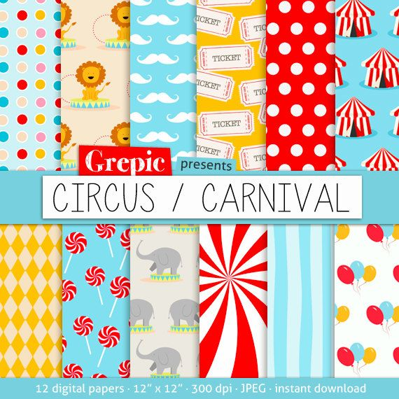 digital paper circus circus carnival with circus by grepic