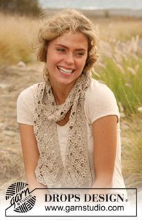 """""""Feminine lace in a trendy summer scarf!"""" Crochet DROPS scarf in """"Cotton Viscose""""."""