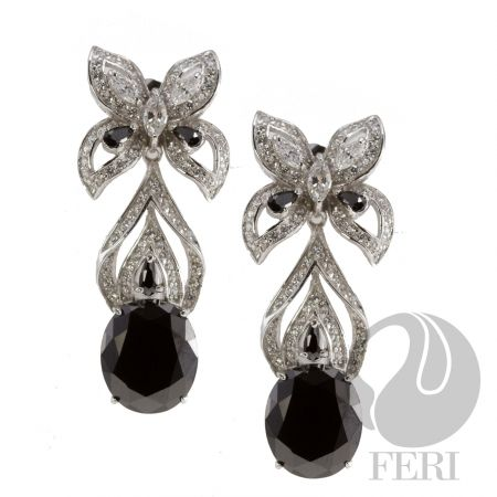 After Midnight - Earrings    - Exclusive 950 fine sterling silver  - Exclusive dual natural rhodium and palladium plating   - Set with AAA white cubic zirconia and a black cubic zirconia https://www.globalwealthtrade.com/vdm/display_item.php?referral=stephjames&category=66&item=5232&cntylng=&page=2
