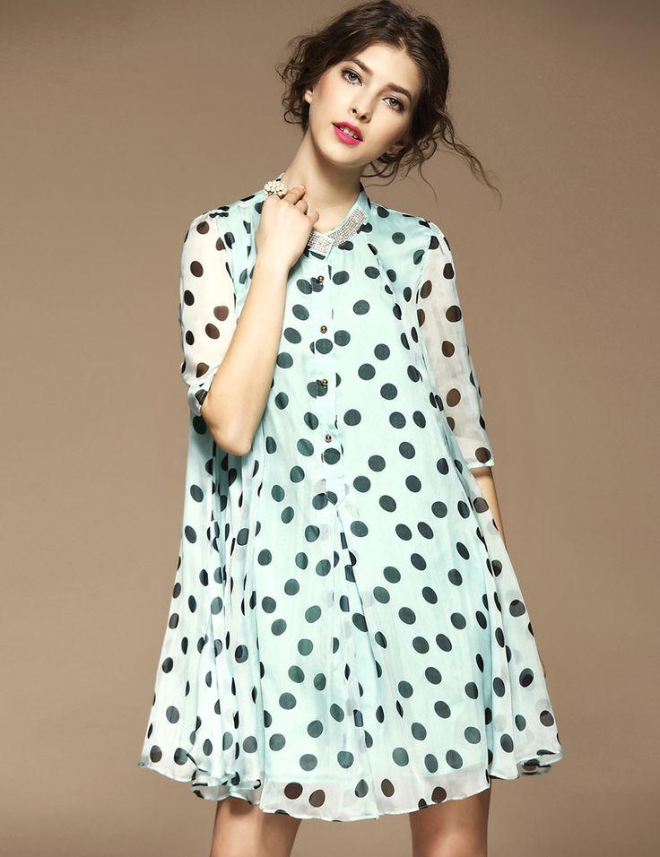 Stand Collar Half Sleeve Polka Dot Button Down A-Line Swing Short Dress