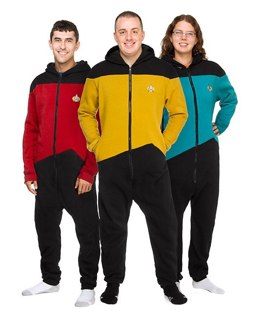 These Star Trek TNG Loungers are officially licensed Star Trek apparel and are perfect for lounging around your crew quarters or the bridge. Face the Borg in style and comfort.  Make it so, and make it comfy. These loungers are super comfortable and Starfleet approved. These one-piece jumpsuit