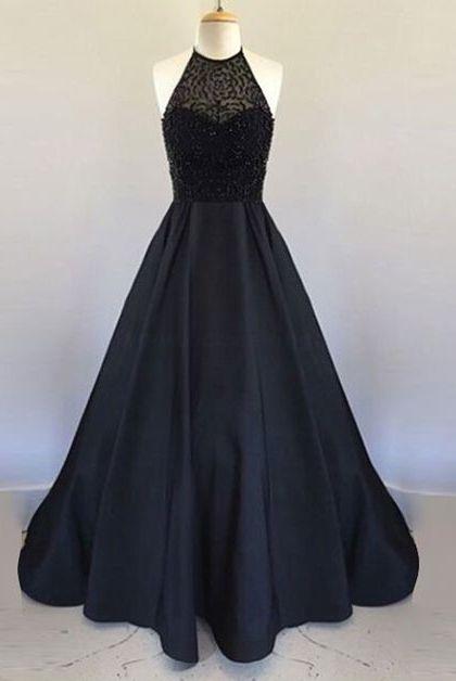 New Style Elegant Prom Dress Black Prom Gown modest Prom dresses,Sleeveless prom dress