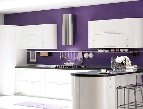 Purple Black and White Kitchen