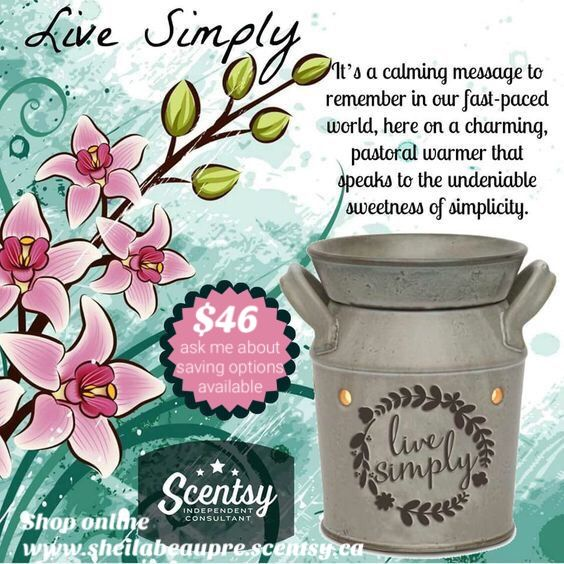 SCENTSY WARMER ~ LIFETIME WARRANTY  It's a calming message to remember in our fast-paced world, here on a charming, pastoral warmer that speaks to the undeniable sweetness of simplicity.