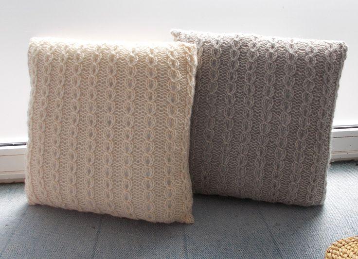 strikkede puder 50x50 cm