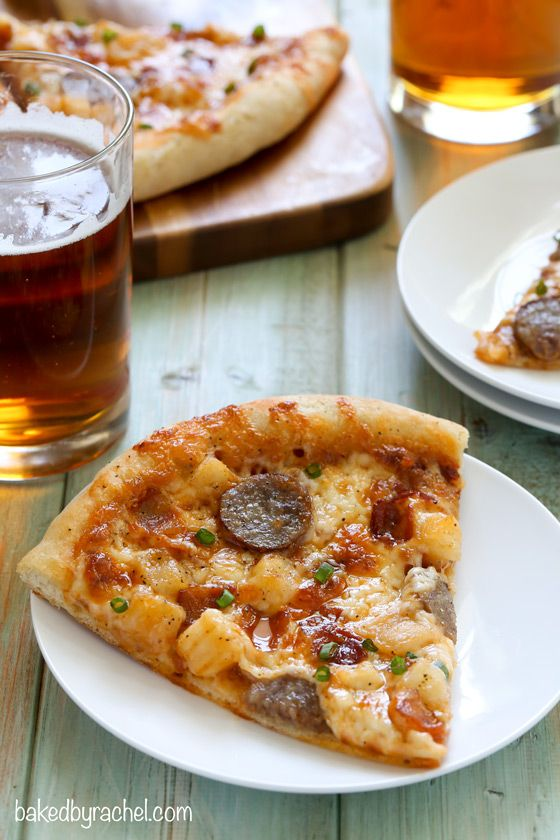 Bratwurst and potato pizza with beer crust! Recipe from @bakedbyrachel: