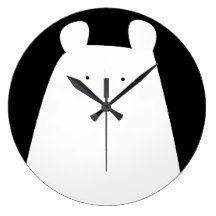 Cute Black White Polar Bear Clock - Monochrome