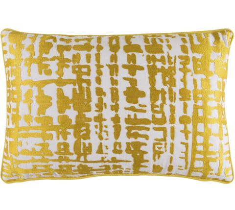 Abstract Check Gold Yellow Decorative Pillow