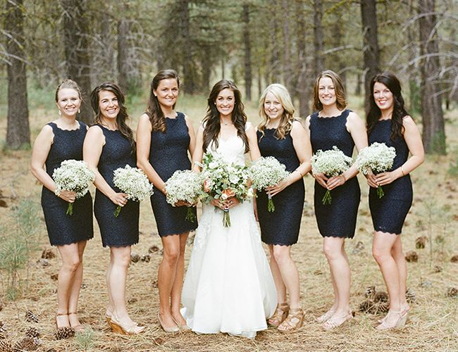 Great bridesmaids dresses.  And love the babies breath.  Lake Almanor Wedding in the Woods - Inspired By This