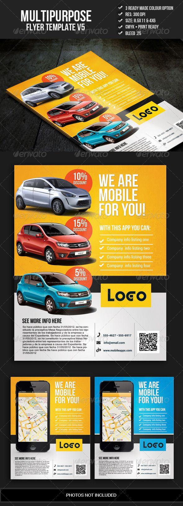 Multipurpose Promo Flyer V5  #GraphicRiver         This fully layered corporate flyer can be used for multipurpose such as salon, insurance, real estate, mobile, car ads and much more.  	 FEATURES