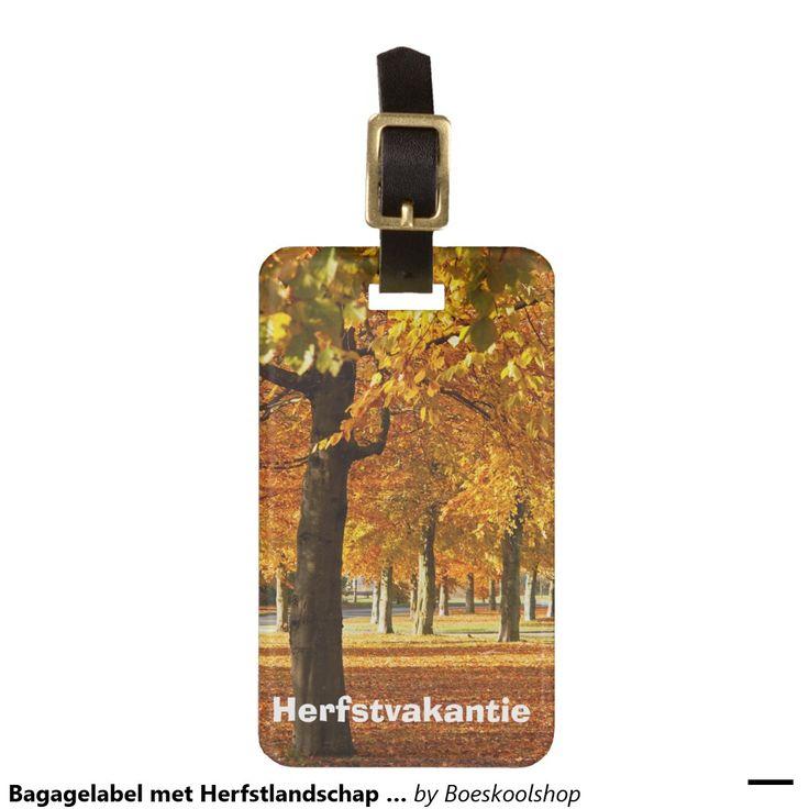 Bagagelabel met Herfstlandschap in Oldenzaal. Tekst is verwijderbaar c.q. aanpasbaar qua lettertype, kleur, grootte en locatie!
