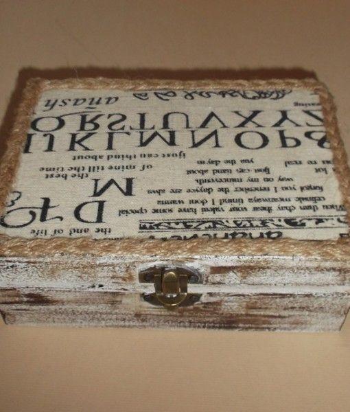 κουτι ξυλινο ντεκαπε πατινα υφασμα εφημεριδα  16X11,5X5