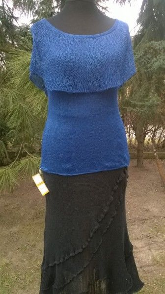 Bluzka z jedwabiu wiskozowego z falbaną