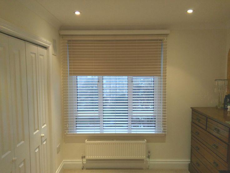 Double Blind Arrangement Of Wood Venetian And Blackout Roller Blind Bedroom Blinds Hove
