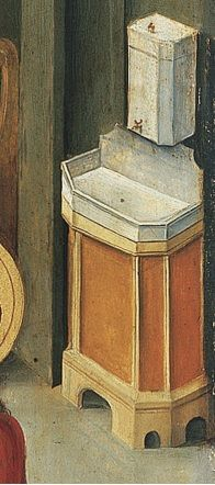 Stone cistern and sink. Detail from St Mark the Evangelist by Gabriel Malasskircher. 1478 Hedl at Museo Thysson-Bornemisza, Madrid