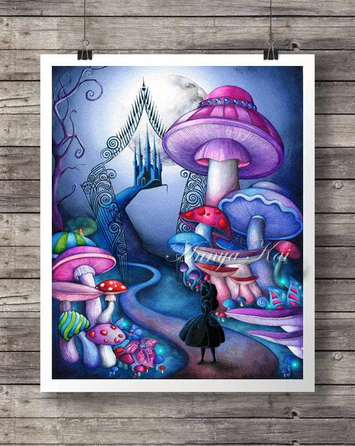 Alice im Wunderland Decor - Alice in Wonderland Wandkunst - Tim Burton Dark Fantasy Malerei - Alice am Eisernen Tor - Magic Mushroom Forest