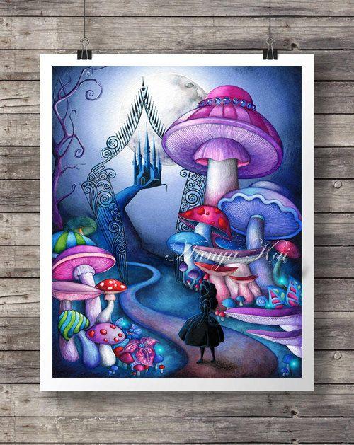 Alice in Wonderland Decor - Alice in Wonderland Wall Art - Tim Burton Dark Fantasy Painting - Alice at Iron Gates - Magic Mushroom Forest