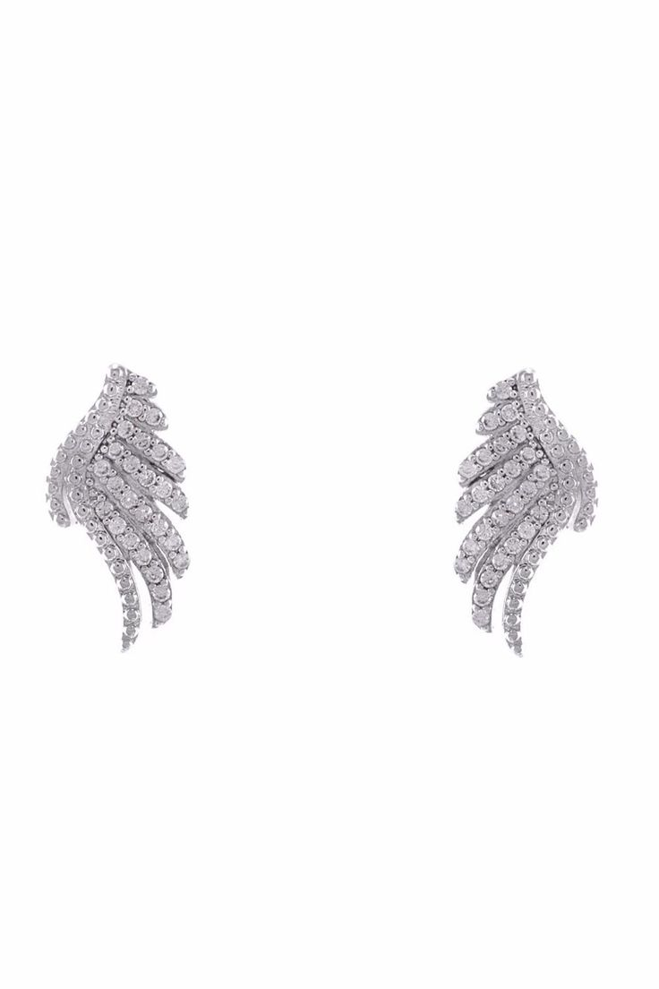 Rhodium stud angel wing earring with clear Zirconia crystals.    Measurements: 1.5cm long    Angel Wing Earring  by Baggis Accesorios. Accessories - Jewelry - Earrings - Studs Monterrey, Mexico