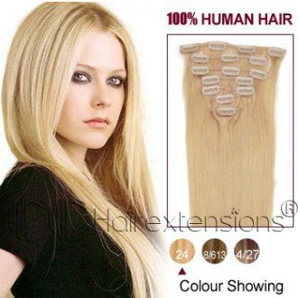 18 inch Ash Blonde(#24) Clip in Hair Extensions 120g