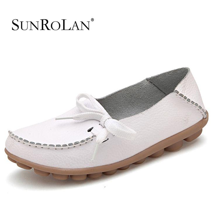 $19.99 (Buy here: https://alitems.com/g/1e8d114494ebda23ff8b16525dc3e8/?i=5&ulp=https%3A%2F%2Fwww.aliexpress.com%2Fitem%2FHot-women-genuine-leather-shoes-woman-s-bow-flat-causal-ballet-flats-woman-shoes-flexible-outdoor%2F1609392551.html ) SUNROLAN plus size 12 13 women ballet flats slip-on genuine leather shoes spring lady loafers white nurse shoes for woman 2065 for just $19.99