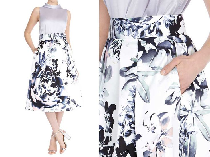 Coast's Miriam printed skirt is a glamorous look that would look great with the metallic queenie top
