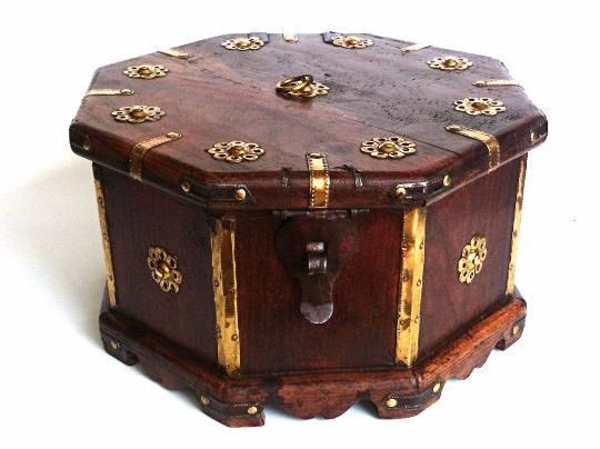 Tea Caddy, Antique wooden box, octagon shaped casket with brass ornaments, four compartments separated by a divider.