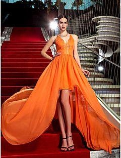 TS+Couture+Formal+Evening+Military+Ball+Dress+-+High+Low+Celebrity+Style+Sheath+/+Column+Halter+Asymmetrical+Chiffon+with+Lace+–+AUD+$+607.75