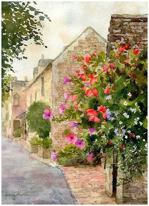 """Bourton-on-the-water, Cotsdwolds, England"" By Kiyoharu Narazaki, from Fukuoka-shi, Japan - watercolor -"