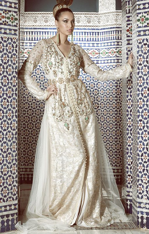 Lovely Ivory and Gold Kaftan