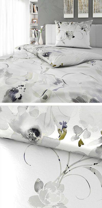 Bettwäsche Weiß Mit Silbernem Floral Muster 140x200 Bettwäsche