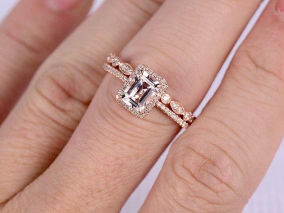 2pcs Wedding Ring SetMorganite Engagement ringRose by milegem