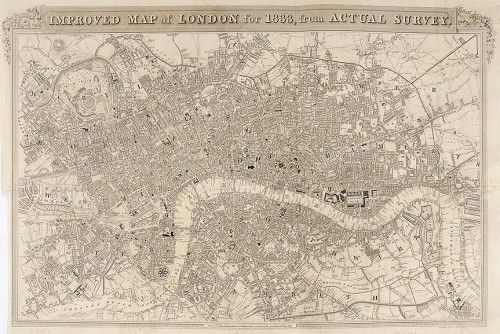 SCHMOLLINGER, William. Improved Map of London for 1833, from Actual Survey. 1833. #London #map #plan #history #cartography