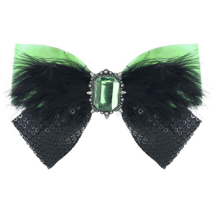 - Zelena hårspænde  - top af grønt læder  - bund med sorte pailetter  - pyntet med sorte hanefjer og grøn sten  - sten: 2,3 x 2,8 cm  - størrelse: 12,5 x 9 cm