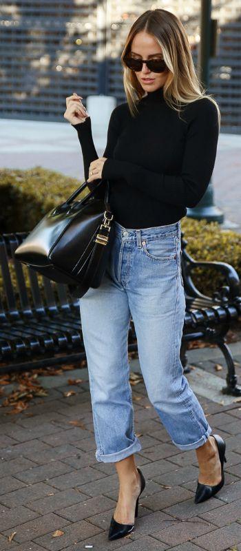 Kristin Sundberg + turtleneck + sleek Givenchy bag + rolled up jeans + feeling brave + leather pants + rock & roll look.  Fall Outfits + Jeans: Levi + Turtleneck: Chiquelle + Sunglasses: Nividas + Shoes: Zara + Bag: Givenchy