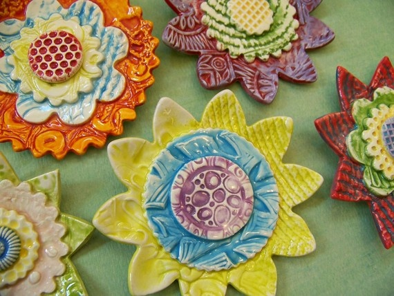 Clay flowers  WIND CHIMES!!!
