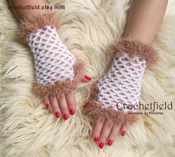 White & Beige Crochet Mittens Fingerless Gloves by Crochetfield