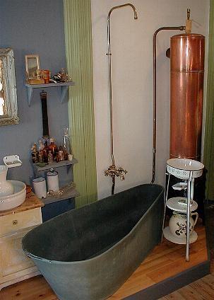 Old Fashioned Bathroom Copper Water Tank Heated By Wood Close To Metal Tub Дизайн Ванная
