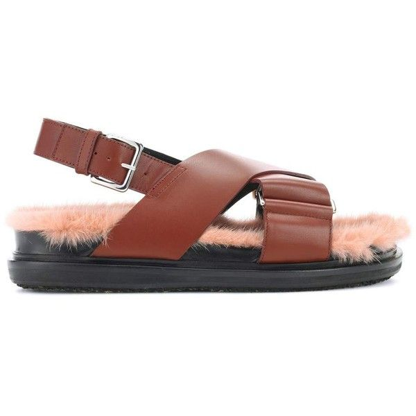 Marni Leather and Mink Fur Sandals (£425) ❤ liked on Polyvore featuring shoes, sandals, leather shoes, real leather shoes, marni shoes, brown leather shoes and mink shoes