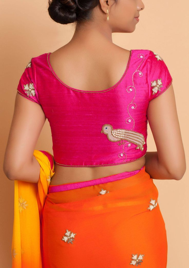 Bring the birds of paradise in your wardrobe . Beautiful pink color designer blouse with bird design hand embroidery thread and pearl work. WhatsApp:+91-9739288111. 25 August 2017