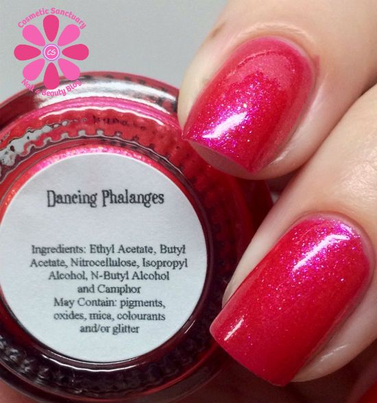 Girly Bits Dancing Phalanges Swatch - Cosmetic Sanctuary; Brand: Girly Bits, Name: Dancing Phalanges, Collection: Fall Season Premiere,  Color: Pink, Shade: Bright, Finish: Crème, Type: Shimmer