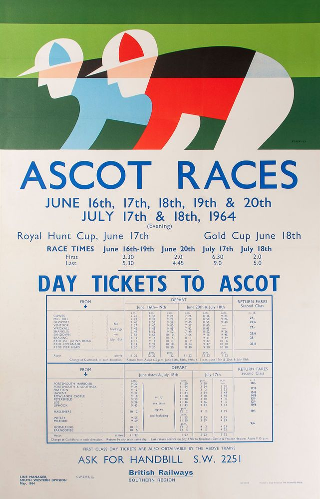 Ascot Races, British Railways Southern Region. Poster