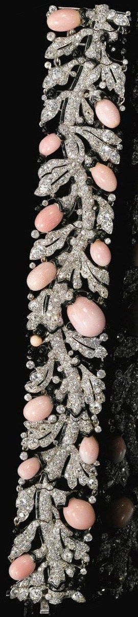 An exceptional Art Deco diamond, conch pearl, and enamel bracelet by Cartier. Circa late 1920's. Via Diamonds in the Library.